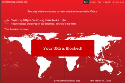 Screenshot: Ulfs Blog in China blockiert