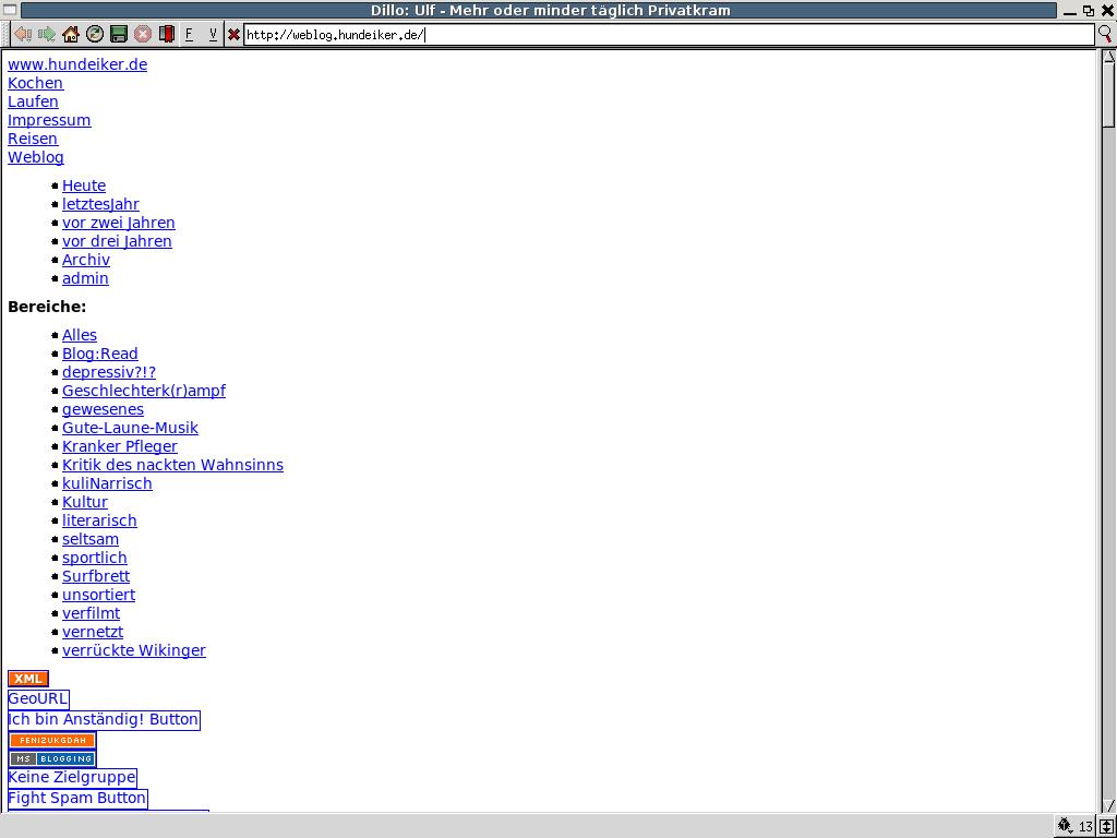 Browsertest: Dillo unter Linux (Ubuntu)