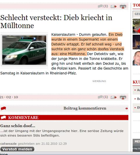 Screenshot Westfälische Nachrichten schlechter Artikel 21.2.2010