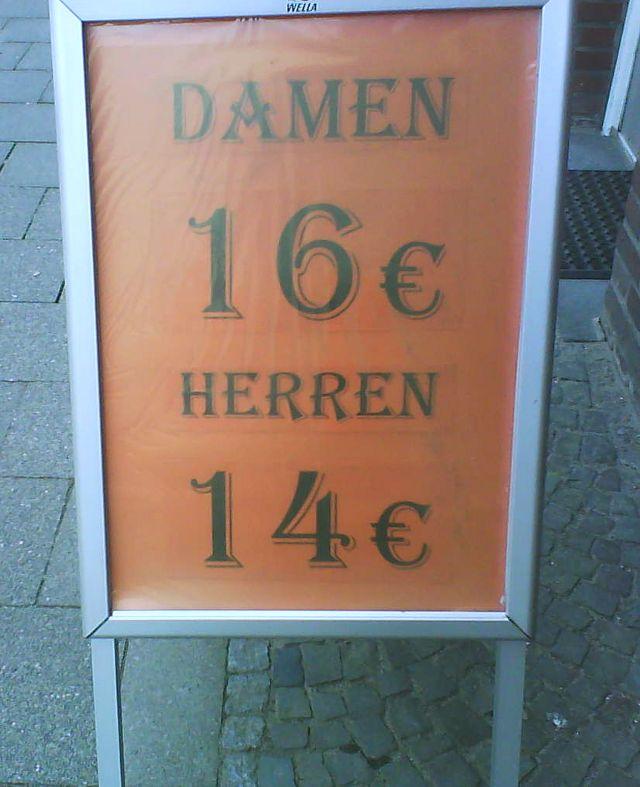 Damen 16 Euro, Herren 14.