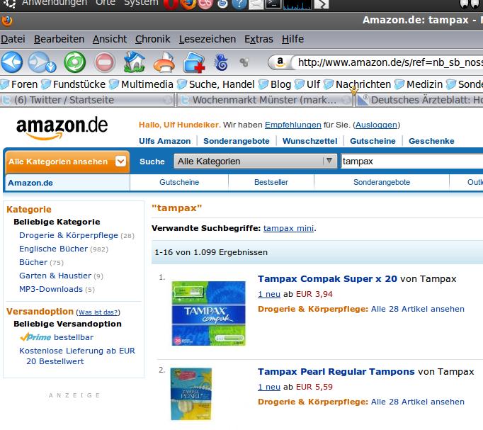 Tampax. Bei Amazon nur als Neuware erhältlich.