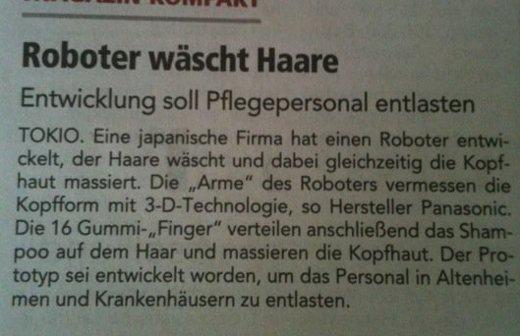 Meldung über Haarroboter via DBfK.