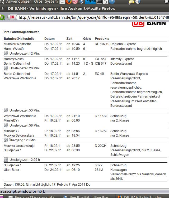 Fahrplan nach Ulan Bator (Mongolei)