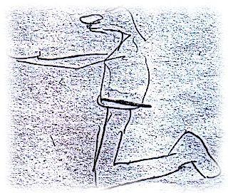 Skizze knieender Bettler