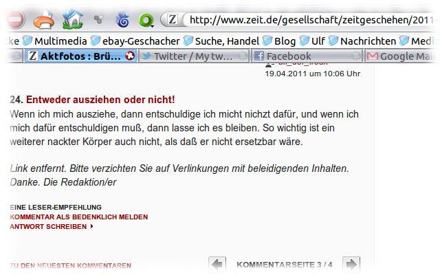 Zensierter Kommentar bei der ZEIT, ehedem mit Link auf dieses Blog.