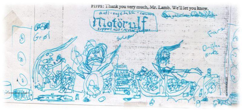 Motörulf. Kritzelei im Englischunterricht 1990.