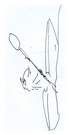 Kajak-Zeichnung.
