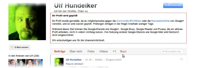 Screenshot Googleplus. Text siehe unten.