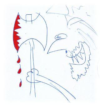 Blutiges Beil (Zeichnung).