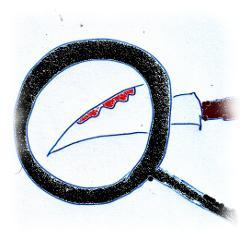 Blutiges Messer wird mit dem Sherlock Holmes seiner Lupe untersucht.