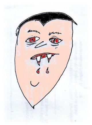 Blut tropft von den Zähnen, und jetzt ist es auch rot. Und die Augen auch.