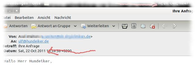Email aus der Zukunft, die erst  morgen geschrieben werden wird.