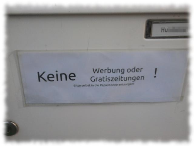 Unsere Anti-Werbe-Briefkasten-Beschriftung.