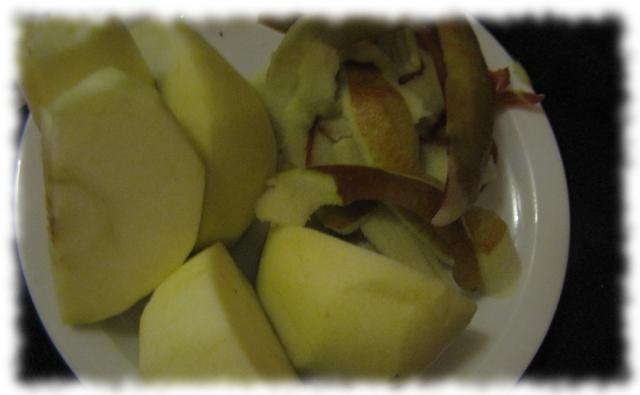 Zerstückelter Apfel.