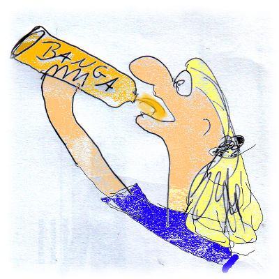 Zeichnung: Junger Ulf trinkt BANGA.