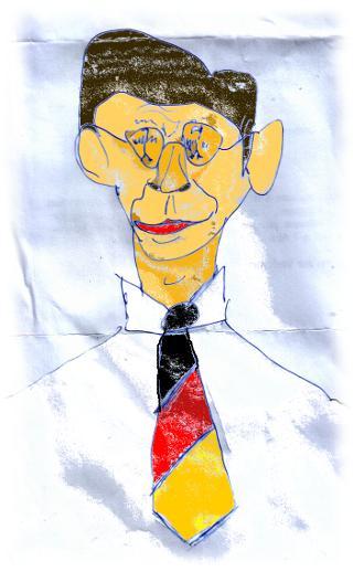 Mi�gl�ckte Karitatur des Pr�sidenten.
