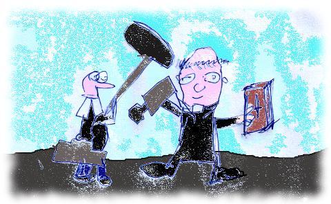 Karikatur: Evangelischer und katholischer Pfarrer machen Fernsehen.
