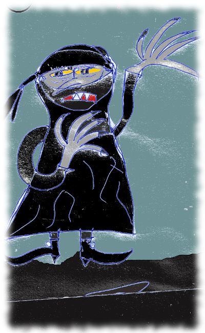 Zeichnung von schwarzer Lady.