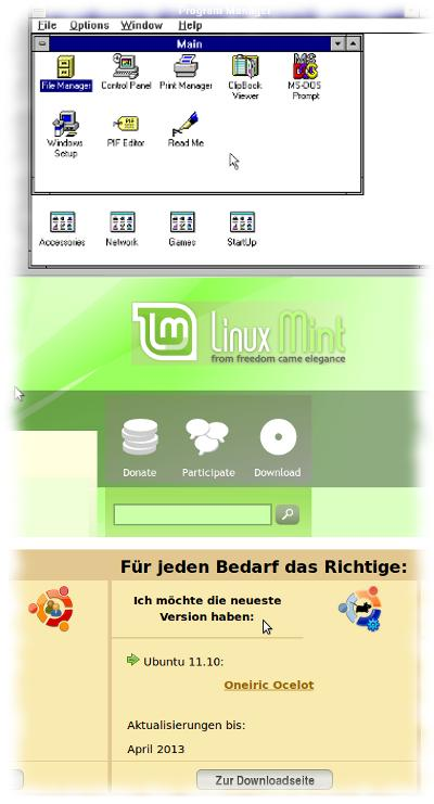 Screenshots Win3.11 - Linux Mint - Ubuntu.