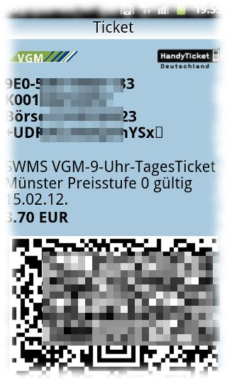 Screenshot der Ticket-App.