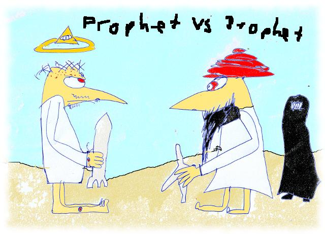 Jesus mit Bombe, Mohammed mit Flugzeug.