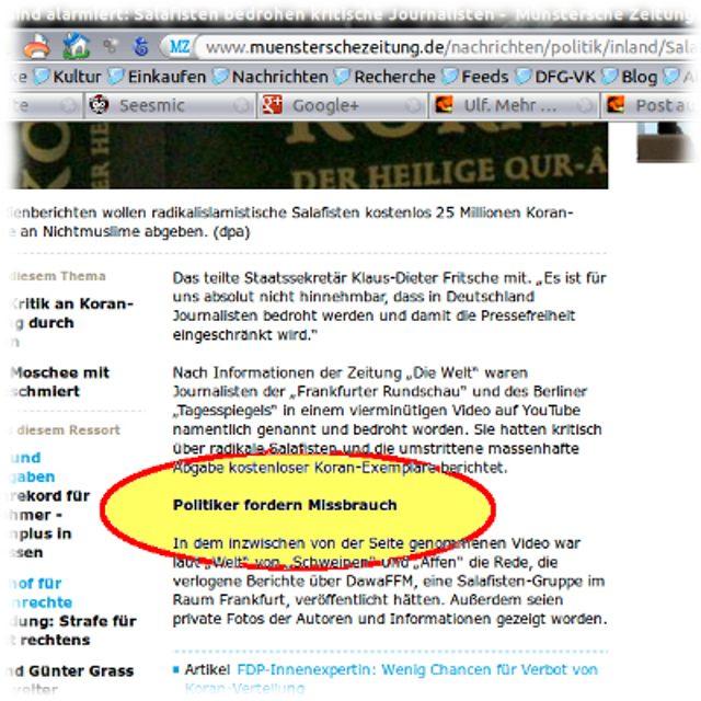 Screenshot Münstersche Zeitung mit Unterüberschrift: Politiker fordern Mißbrauch!