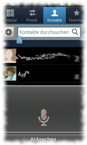 Screenshot der Spracheingabe-App.