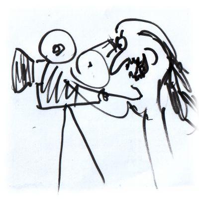 Karikatur: Ulf dreht Film.