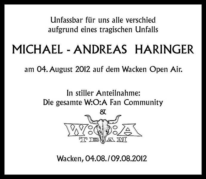 Nachruf auf das Todesopfer in Wacken 2012.