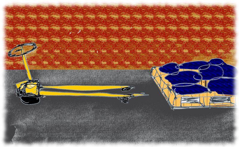 Ameise: Gerät zum Fahren von Europaletten. Schlechte Zeichnung.