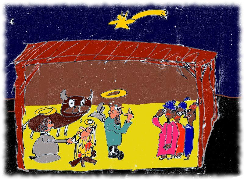 Maria brät das Jesuskind, Josef erklärt es den heiligen drei Königen.