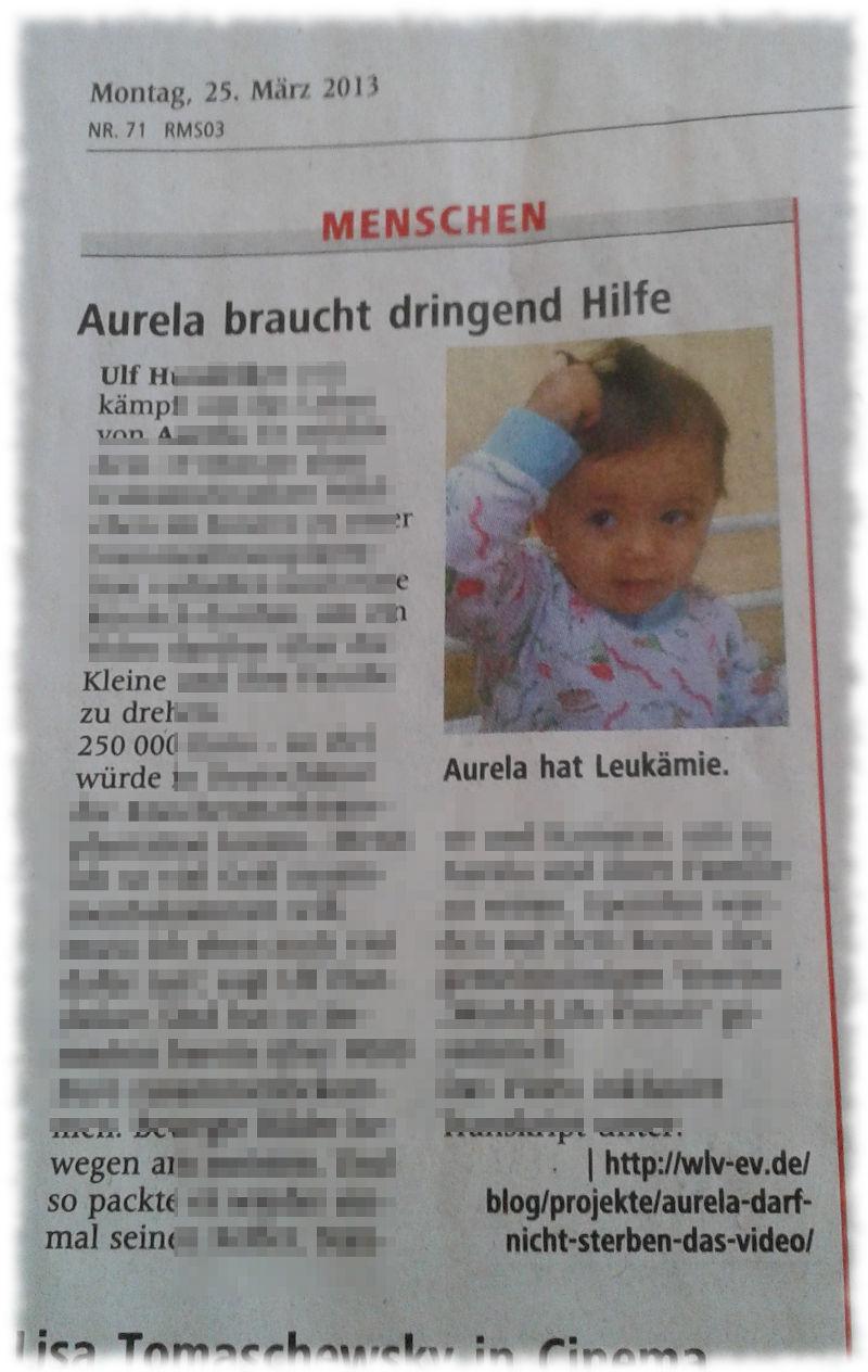 Bereits erschienener Zeitungsartikel über Aurela.