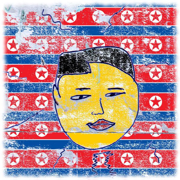 Karikatur von Kim Jong Un.