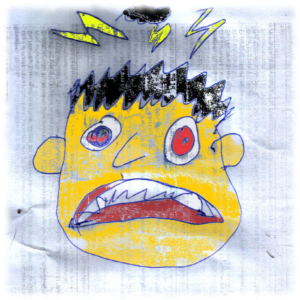 Karikatur wütendes Gesicht.