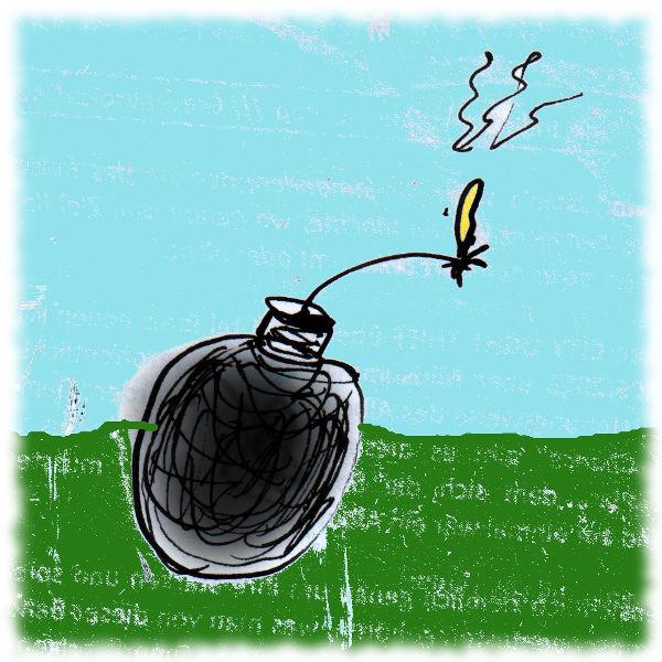 Terror-Bombe mit Sprengstoff drin. Schlechte Zeichnung.