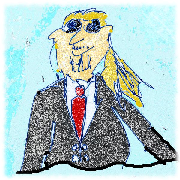 Zeichnung von Ulf im Anzug.