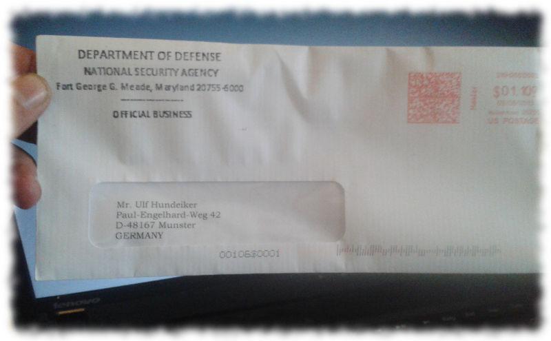 Brief von der NSA, ungeöffnet.