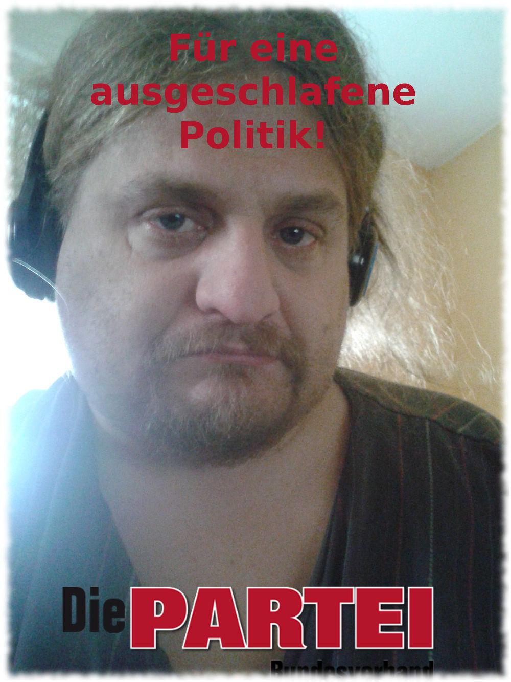 Wahlplakat mit müdem Ulf im Nachthemd.
