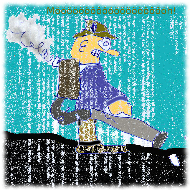 Karikatur Laubbläser.