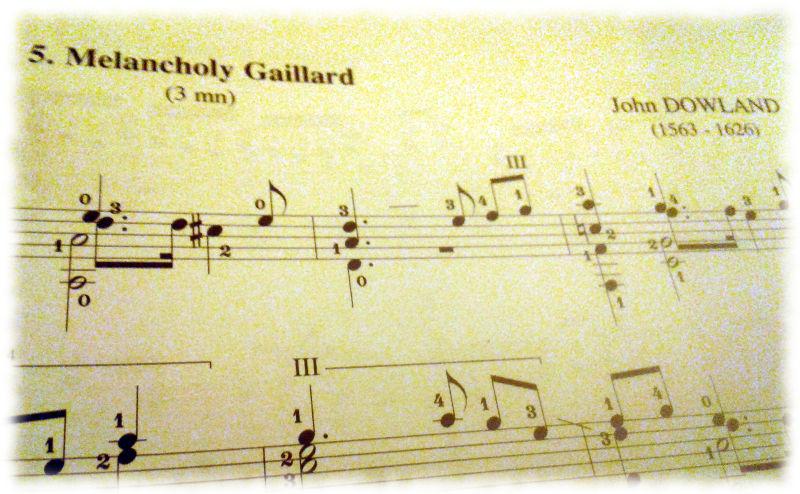 Ausschnitt eines Blattes Noten von ohn Dowland.