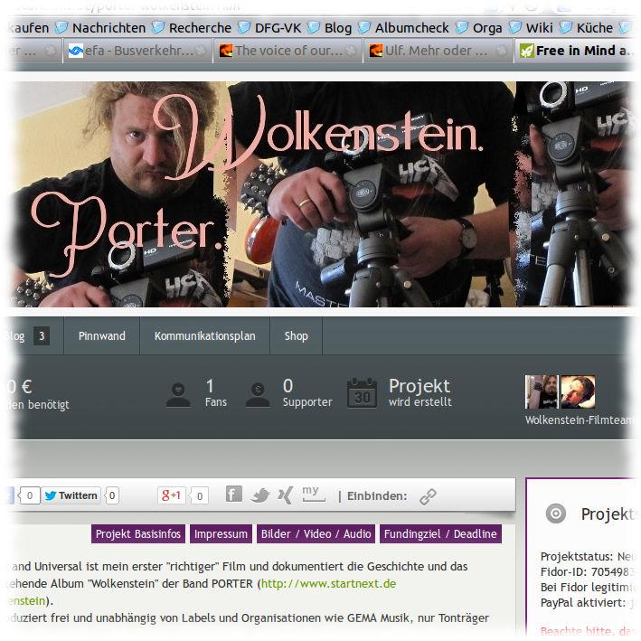 Screenshot der Projektseite auf Startnext.de