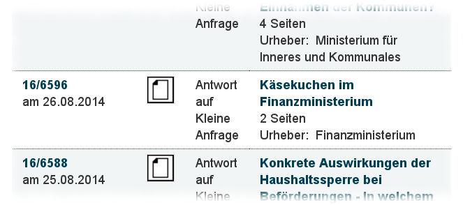 Screenshot von der in der Landtagsdatenbank aufgeführten Käsekuchen-Anfrage.