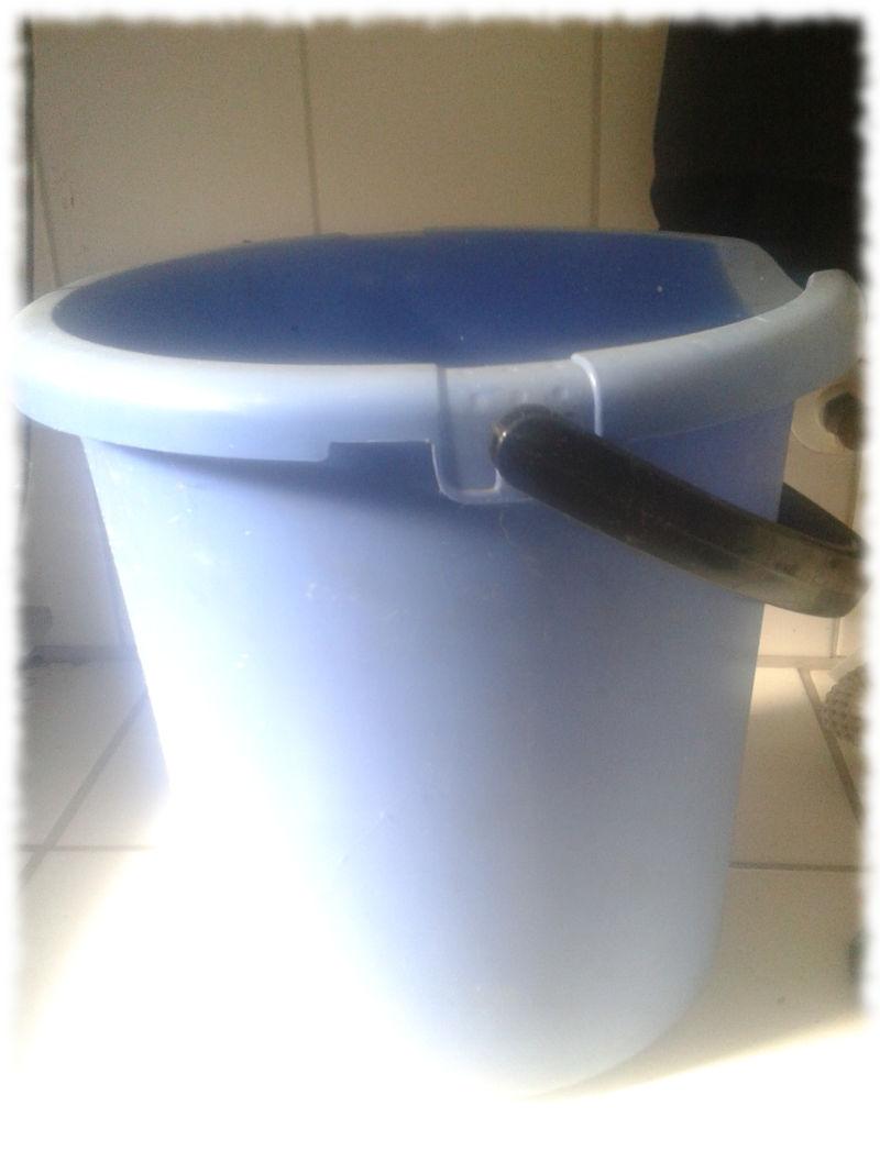 In diesen Eimer kommt das Eiswasser für die Ice Bucket Challenge.