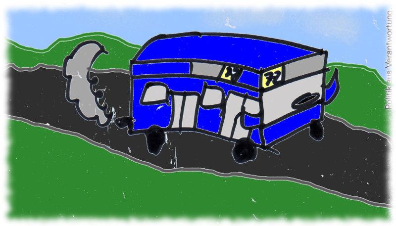 Zeichnung eines Linienbusses (schlecht)