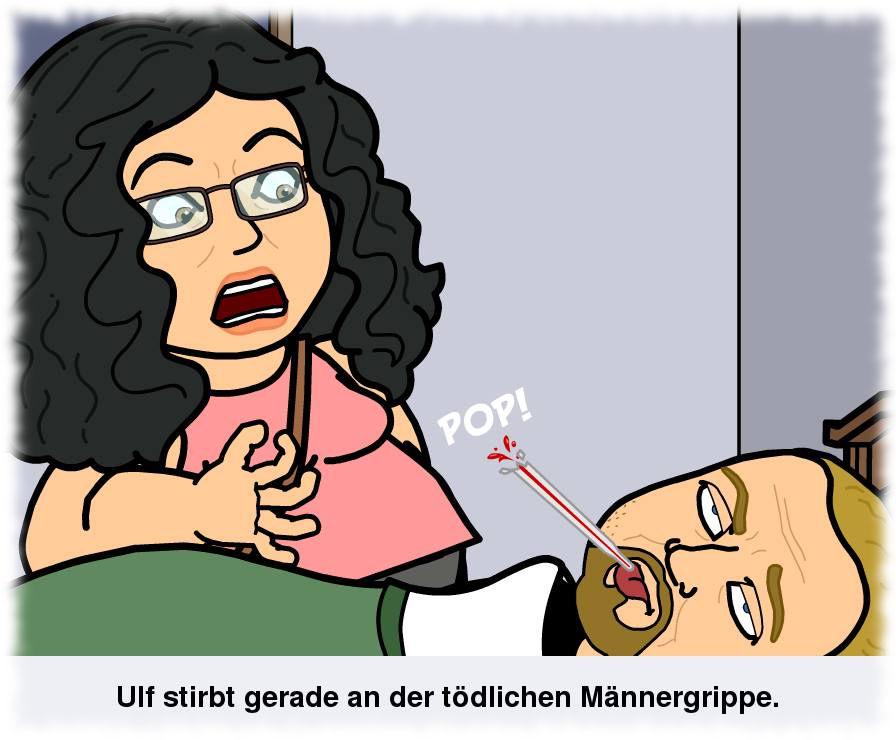 Cartoon- Ulf liegt mit verdrehten Augen im Bett während seine Gattin entsetzt aufs platzende Thermometer schaut.