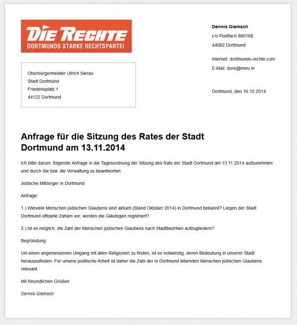 Screenshot der Anfrage der Nazipartei Die Rechte