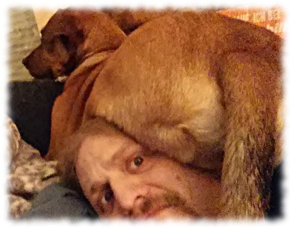 Bruno (großer Hund) hat sich wie eine Katze auf meinem Kopf ausgebreitet.