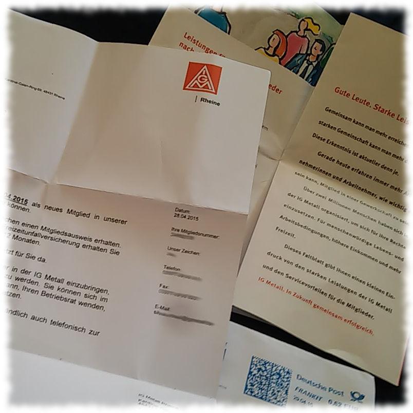 Brief mit der Betätigung der Mitgliedschaft in der IG Metal.