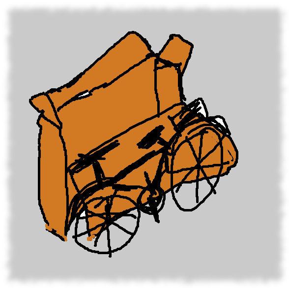 Schlechte Zeichnung von einem Rad vor dem Versandkarton.