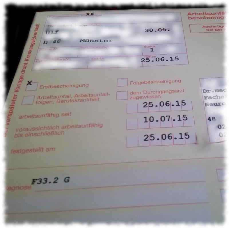 Arbeitsunfähigkeitsbescheinigung, Diagnose F33.2